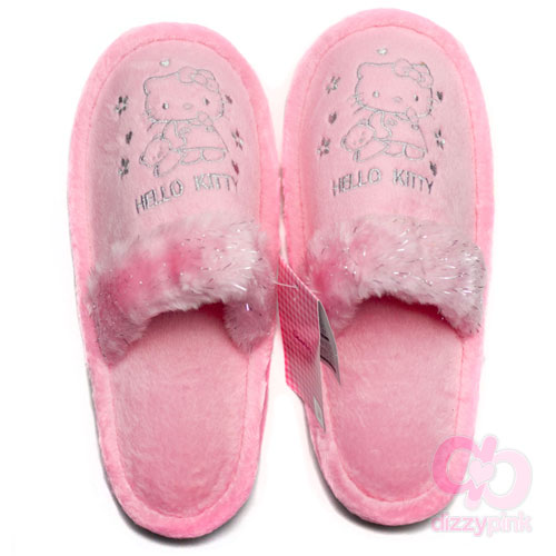 Hello Kitty Adult Slippers - Silver Kitty & Teddy