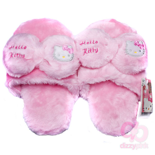 Hello Kitty Adult Slippers - Pink Bow