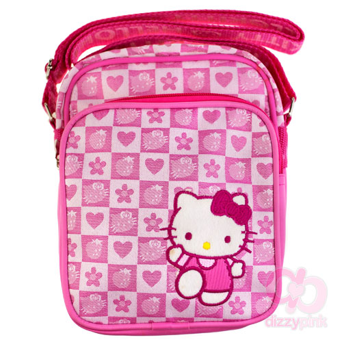 Hello Kitty Pink Strawberry Check Double Pouch Bag
