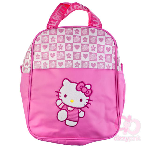 Hello Kitty Pink Strawberry Check Large Cross Body Bag