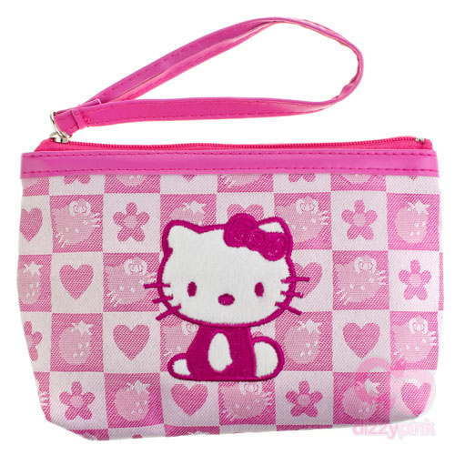 Hello Kitty Pink Strawberry Check Clutch Purse