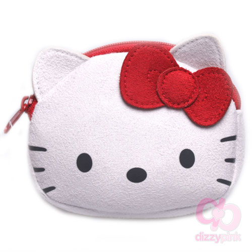 Hello Kitty Coin Purse - Suede - Red Kitty