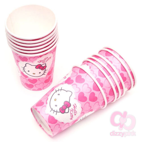 Hello Kitty Paper Party Cups x 12 - Pink Heart