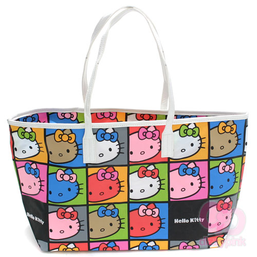 Hello Kitty Hand Bag Large - Faces Colourful (Dark)