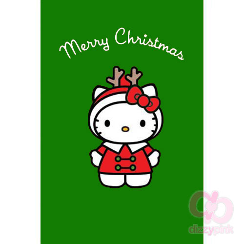 Hello Kitty Christmas Card - Christmas Reindeer (Green)