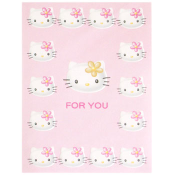 Hello Kitty Card - Faces On Pink Back